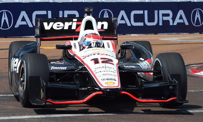 Will Power has two 2012 wins and one pole in his Chevrolet-powered Verizon Penske-Dallara—teammates Helio Castroneves and Ryan Briscoe took the rest. Chevy engines are the key to victory so far, but Honda is right behind—less than a second behind at Long Beach. (James Fish/The Epoch Times)