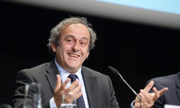 In this May 28, 2015 file picture, UEFA-President Michel Platini speaks during a news  conference after a meeting of the European Soccer federation UEFA in Zurich, Switzerland. (Walter Bieri/Keystone via AP)