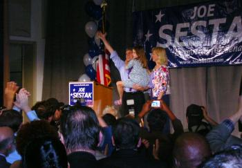 Accompanied by wife and daughter, Rep. Joe Sestak declared victory of the Pennsylvania Democratic Senate race in Valley Forge Military Academy & College on Tuesday night, May 18, 2010.  (courtesy of Eric Bontrager)