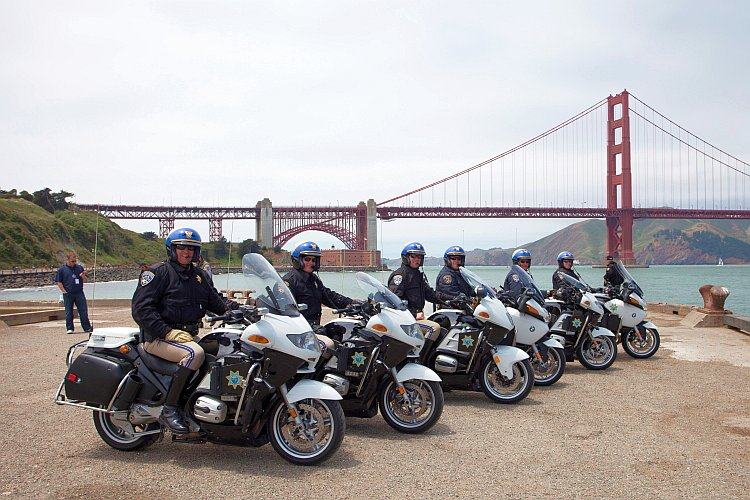 golden gate bridge: The California Highway Patrol at Torpedo Wharf.
