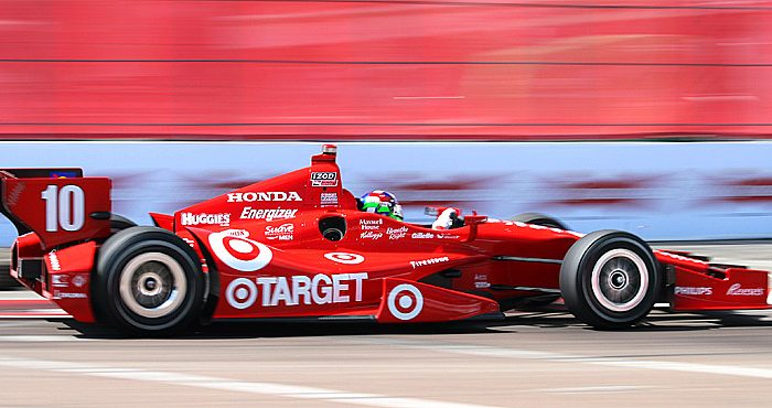 Four-time champion Dario Franchitti has been well off the pace in his Honda-powered Target-Ganassi Dallara. Hopefully the new Honda turbo will keep him competitive. (James Fish/The Epoch Times)