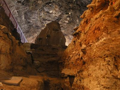 View from the bottom of the excavated area towards the entrance to Wonderwerk Cave. (R. Yates)