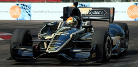 Oriol Servia drives a Lotus-powered DW12 at St. Pete early Saturday morning. (James Fish/The Epoch Times)