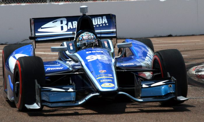 Alex Tagliani, driver of the #98 BHA Dallara, will have Honda power for the rest of the 2012 IndyCar season. (James Fish/The Epoch Times)