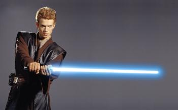 Anakin Skywalker (Hayden Christensen) from 'Star Wars' is  holding a fictional  laser sword called a 'Light-saber.' The Laser is celebrating 50 years since its'  invention. (AFP/AFP/Getty Images)