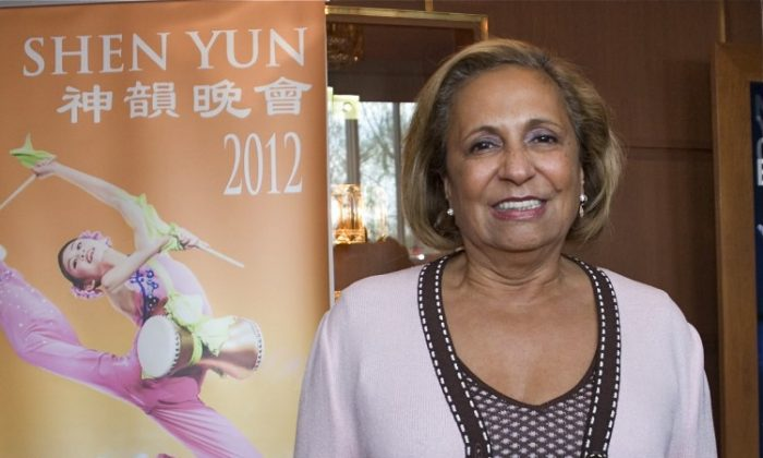 Cathy Hughes attends Shen Yun Performing Arts in Washington D.C. on Sunday afternoon, April 1. (Lisa Fan/The Epoch Times)