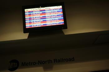 A Metro North Railroad display is seen in Grand Central Terminal in New York. The Metro-North Railroad service was temporarily disrupted today because of a fire at the 138th Street bridge over the Harlem river.  (Chris Hondros/Getty Images)