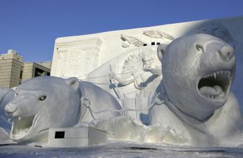 SAPPORO, JAPAN - A Narnia snow sculpture is displayed at Odori Koen during the 57th Sapporo Snow Festival February 12, 2006. The annual week-long festival features snow and ice sculptures from around the world. (Cameron Spencer/Getty Images)