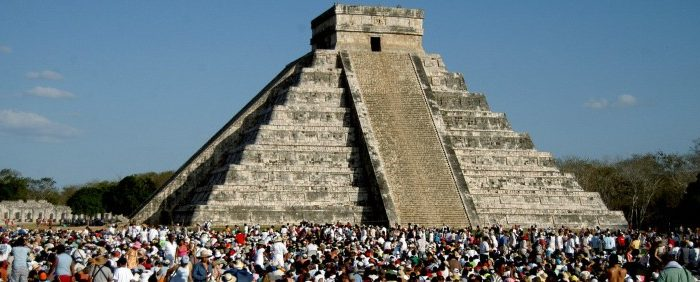 Unlike its Egyptian counterparts in the desert, the Mayan pyramid Kukulkan, in Chichen Itza, Mexico, is surrounded by jungle and has the base for a temple on the top. (Perez/AFP/Getty Images)
