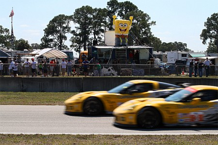 Fans brought SpongeBob to Turn Ten at Sebring, where he cheered on the Corvettes. (James Fish/The Epoch Times)