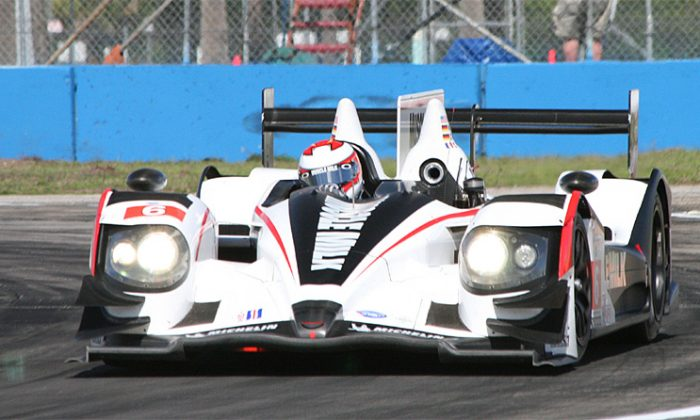 Klaus Graf in the #6 Muscle Milk Pickett Racing HPD-03a (here at Sebring) was quickest in the very wet Long Beach practice session. (James Fish/The Epoch Times)