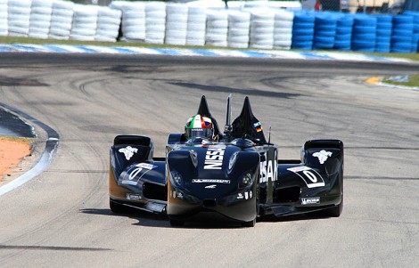 Marino Franchitti drives the Nissan DeltaWing out of Turn Five at Sebring during the car's public debut. (James Fish/The Epoch Times)