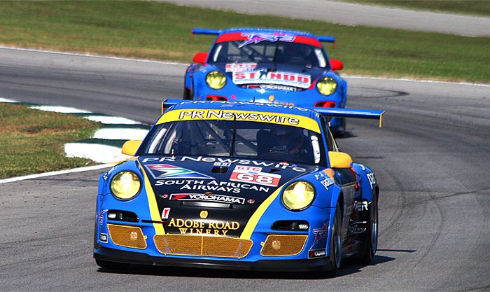 A pair of TRG Porsches in action at Petit le Mans 2011. TRG will enter a single car in the 60th Anniversary Sebring 12 Hours. (James Fish/The Epoch Times)