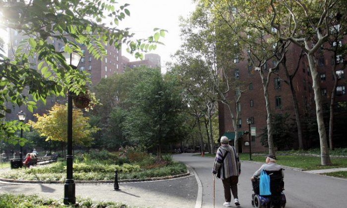 An elderly couple walk in a park in Stuyvesant Town, New York in this file photo. Elderly people are vulnerable to being taken advantage of financially, especially by their own family members. (Don Emmert/AFP/Getty Images)