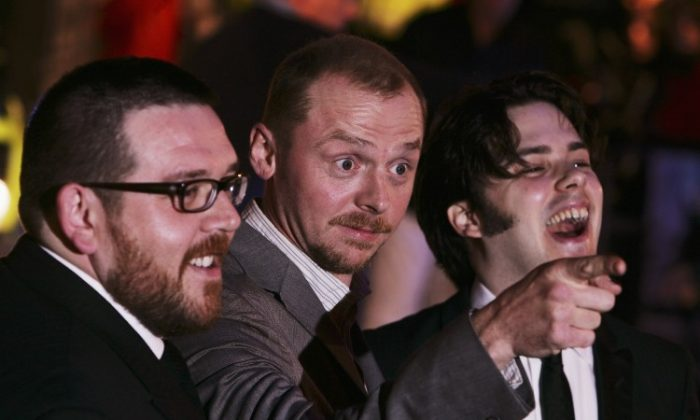 "Actors Nick Frost, Simon Pegg and director Edgar Wright attend the premiere of ""Hot Fuzz"" in 2007 in London. (Chris Jackson/Getty Images)"