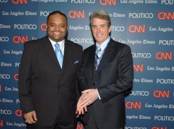 CNN's Roland S. Martin (L) and John Roberts attend the CNN, LA Times, POLITICO Democratic Debate on Jan. 31, 2008 in California.  (Stephen Shugerman/Getty Images for Turner)