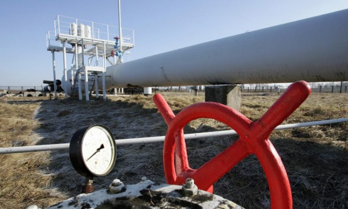 A gas pipeline is seen near Ukraine's capital Kyiv on Feb. 12, 2008. According to experts, a ban on Ukrainian cheese by Russia has political aims, including solidifying Russia's negotiation position on gas prices. (Sergei Supinsky/AFP/Getty Images)