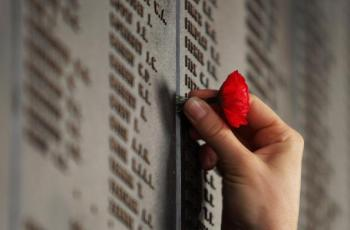A woman places a poppy on the Roll of Honour for World War I after an ANZAC Day Dawn Service at the Australian War Memorial in Canberra. Around some 60,000 Australians were killed during World War I and just over 27,000 would die in the war that followed. (Mark Nolan/Getty Images)