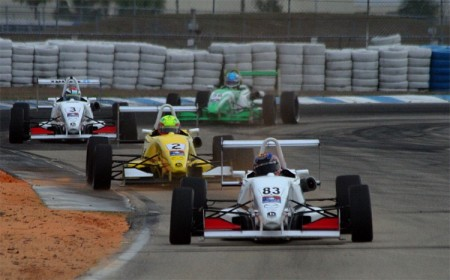 Teammates Matt Brabham, Spencer Pigot, and Trent Hindman, lead the field in the final USF 2000 race. (James Fish/The Epoch Times)