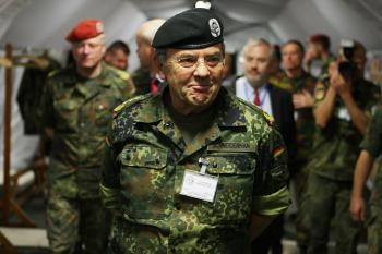 Inspector general of the German Military, Wolfgang Schneiderhan, at a military exercise in Stetten am Kalten Markt, Germany on May 28, 2008. (Thomas Niedermueller/Getty Images)