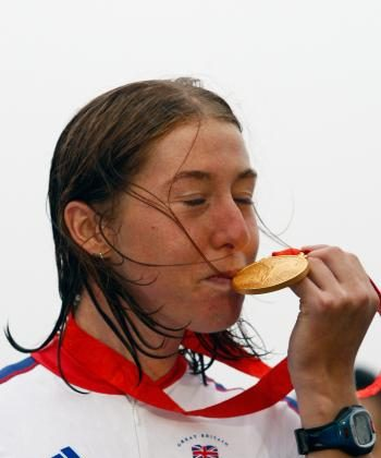 Gold medalist Nicole Cooke of Great Britain poses on the podium after the medal ceremony for the women's road cycling event held on the Road Cycling Course during day 2 of the Beijing 2008 Olympic Games (Cameron Spencer/Getty Images)