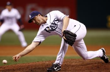 Relief pitcher Chad Bradford #53 of the Tampa Bay Rays shows his unusual pitching style. (J. Meric/Getty Images )