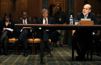 U.S. Federal Reserve Chairman Ben Bernanke(R) testifies before the Senate Banking Committtee March 3, 2009 on Capitol Hill in Washington, DC. (Tim Sloan/AFP/Getty Images)