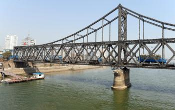 The Sino-Korean Friendship Bridge in Dandong, Liaoning province across the Yalu River to the North Korean border town of Sinuiju. (Frederic J. Brown/AFP/Getty Images)