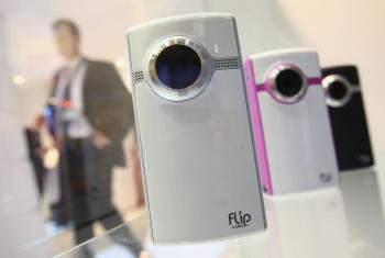 The Flip Video stand on opening day at the IFA technology trade fair in Berlin, September 2009, shortly after Flip Video was bought by Cisco. (Sean Gallup/Getty Images)