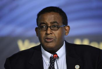 Somalian Prime Minister Omar Abdirashid Ali Shermake delivers a speech during a session of a World Summit in 2009. Ali Sharmake resigned from Somalia�¢ï¿½ï¿½s Transitional Federal Government (TFG) on Tuesday.  (Filippo Monteforte/Getty Images )