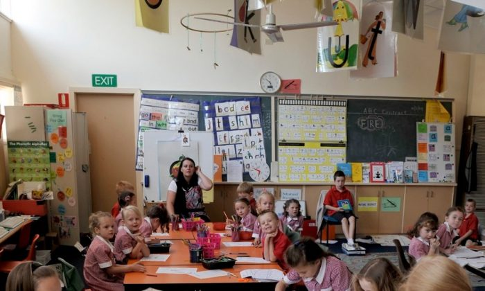 Children in the small Dixon Creek Primary School some 50km north-east of Melbourne. (Paul Crock/AFP/Getty Images)