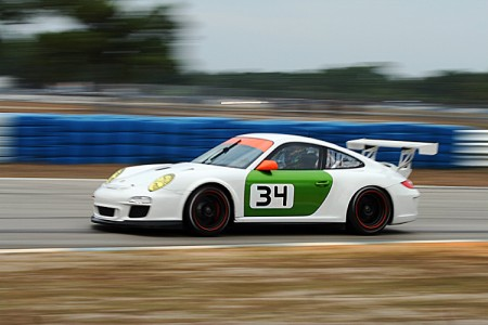 In the morning session the #34n Green Hornet ran this (apparently too new to paint) Porsche GTs Cup. (James Fish/The Epoch Times)