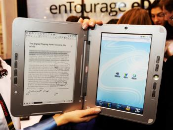 The enTourage eDGe e-book is displayed at the 2010 International Consumer Electronics Show at the Las Vegas Convention Center January 7, 2010 in Las Vegas, Nevada.  (Ethan Miller/Getty Images)