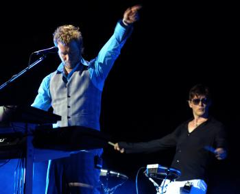 GOODBYE: Keyboard player Magne Furuholmen (L) and singer Morten Harket of the Norwegian pop band a-ha, perform during the first concert of their farewell tour at Luna Park stadium in Buenos Aires on March 4, 2010. (Alejandro Pagni/AFP/Getty Images)