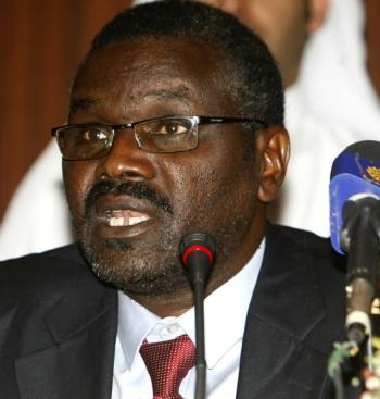 The leader of the Sudanese rebel group the Justice and Equality Movement (JEM), Khalil Ibrahim, speaks during a press conference in Doha on March 29. JEM has said that the Sudanese government has broken a ceasefire by attacking villages and other targets. (Karim Jaafar/AFP/Getty Images)