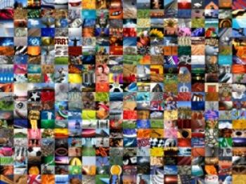 Hundreds of television/computer screens showing a wide variety of subject matter. (Ian McKinnell/Getty Images)
