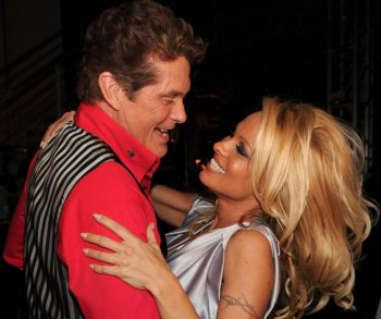 Actors David Hasselhoff  and Pamela Anderson backstage at the 8th Annual TV Land Awards at Sony Studios on April 17, in Culver City, California. (Alberto E. Rodriguez/Getty Images)