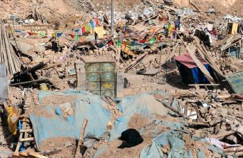 The rubble of quake demolished buildings in Jiegu, Yushu County (Frederic J. Brown/AFP/Getty Images)