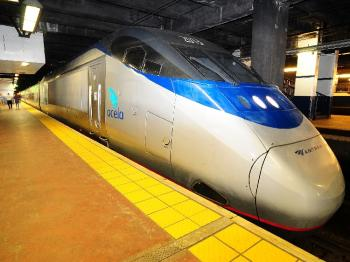 ACELA EXPRESS: The proposed new high-speed railway would go much faster than the existing Acela Express, which is touted at reaching speeds of up to 150 miles per hour. (Lisa Lake/Getty Images for Amtrak)