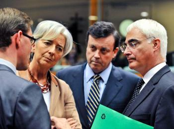 EU TALKS: European Union Finance Ministers talk before the EU Economy and Finance Council meeting on May 9 at EU headquarters in Brussels. L to R Finnish FM Jyrki Katainen, French FM Christine Lagarde, Irish FM Brian Lenihan, and British FM Alistair Darling (Georges Gobet/AFP/Getty Images)