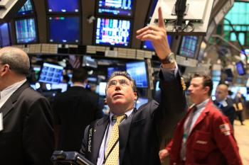 Traders work on the floor of the New York Stock Exchange during morning trading on May 10, 2010 in New York City. (Spencer Platt/Getty Images)
