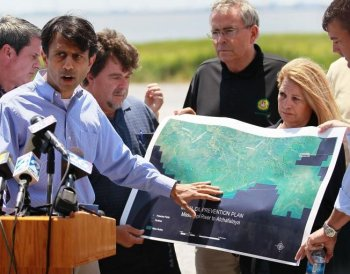 Oil Spill: Louisiana Governor Bobby Jindal points to a map showing the areas that might be affected by BP's massive oil spill as he meets with the media on May 10, in Lafourche Parish, Louisiana. (Joe Raedle/Getty Images)