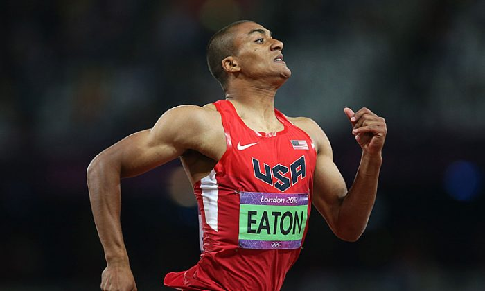 Ashton Eaton of the United States competes in his Men's Decathlon 400m Heat on Day 12 of the London 2012 Olympic Games. (Quinn Rooney/Getty Images)