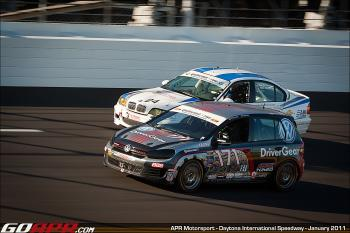 Ian Baas and Adam Pecorari traded the lead four times before Pecorari finally crashed trying to pass. (Courtesy APR Motorsports)