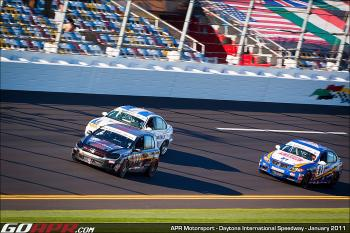 The #81 Bimmerworld BMW 328i and the #24 V-Pack Motorsport BMW 330 harassed the APR car throughout the race. (Courtesy APR Motorsports)