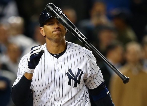 Alex Rodriguez was already a question mark heading into 2013 after an abysmal playoff stint. Now needing hip surgery, what do the Yankees do? (Elsa/Getty Images)