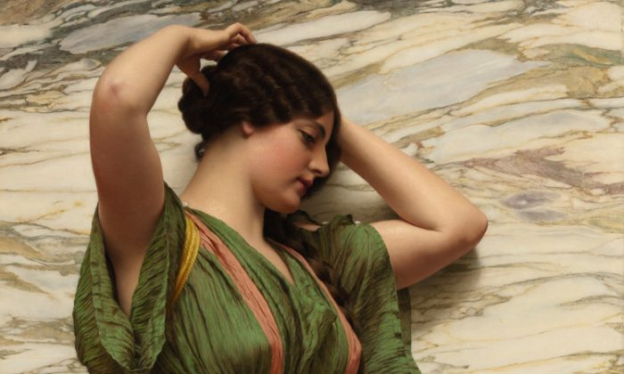 """""""A Fair Reflection,"""" 1915, by British artist John William Godward, R.B.A. Oil on canvas, 46 by 31.5 inches. Estimate: $400,000 to $600,000. (Courtesy of Sotheby's)"""