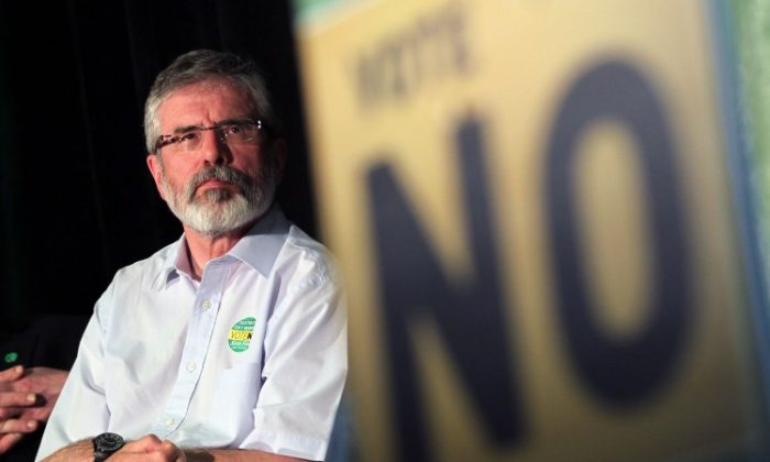 ULSTER SAYS YES, SF SAYS NO: Sinn Fein President Gerry Adams pictured during a rally for a 'No' vote in Dublin on May 28th, 2012. Ireland goes to the polls on Thursday to vote on the European fiscal treaty referendum (PETER MUHLY/AFP/GettyImages)