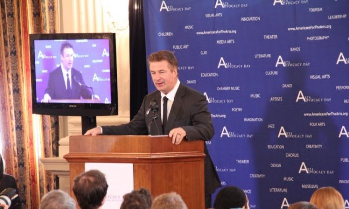 Actor Alec Baldwin speaks during an Arts Advocacy Day presentation at the Cannon Caucus House on Capitol Hill, April 16. (Shar Adams/The Epoch Times)