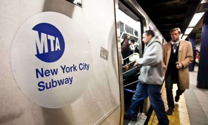 The MTA logo on a subway car. Almost 3,000 preventable delays occurred on subway lines in 2011 a new report found. (Amal Chen/The Epoch Times)